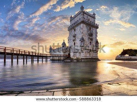 Lisbon,  Belem Tower - Tagus River, Portugal Royalty-Free Stock Photo #588863318