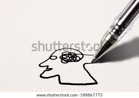 A ball point pen drawing a human head with a messed up brain on a grungy paper surface, for the concept: writing a prescription for mental delusion.