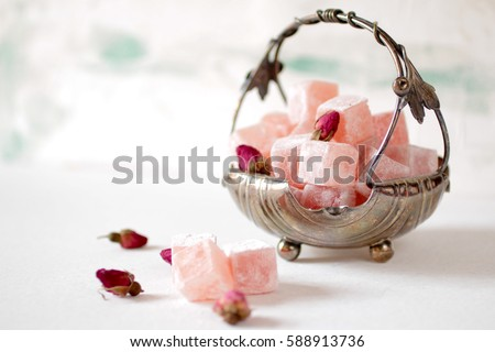 Eastern sweets, Turkish delight Royalty-Free Stock Photo #588913736