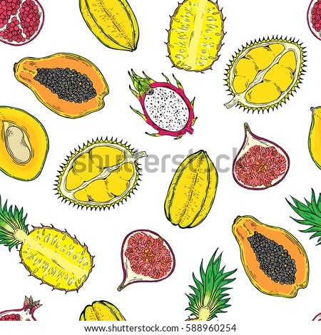 Pattern of exotic fruits. On a wight background. Seamless. #588960254