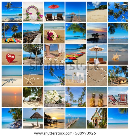 Tropical photo collage, romantic vacation