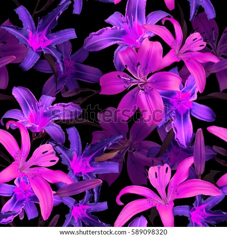 Floral pattern luminous blossom flowers lilies on a black night background. Amazing jungle foliage seamless neon pink lights photo collage for floral design.