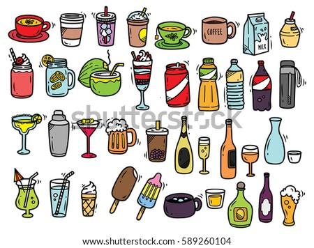 Beverage doodle set isolated on white background