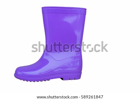 new blue rubber boots on a white background, side view #589261847