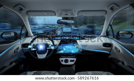 empty cockpit of vehicle, HUD(Head Up Display) and digital speedometer. autonomous car. driverless car. self-driving vehicle.