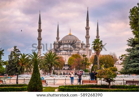 The Blue Mosque, (Sultanahmet Camii) in sunset, Istanbul, Turkey #589268390