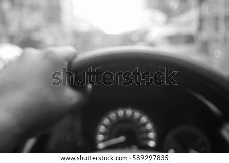 Picture blurred  for background abstract and can be illustration to article of hand drive wheel car #589297835