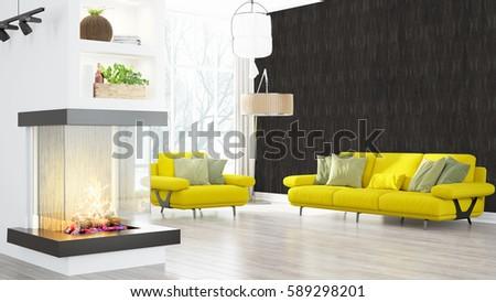 Modern bright interior . 3D rendering #589298201