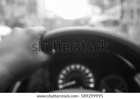 Picture blurred  for background abstract and can be illustration to article of hand drive wheel car #589299995