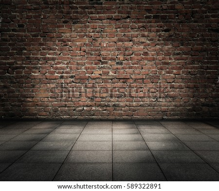 old room with brick wall, grungy background #589322891