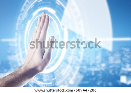 Male palm against abstract digital circle on blurry night city background. Technology concept #589447286