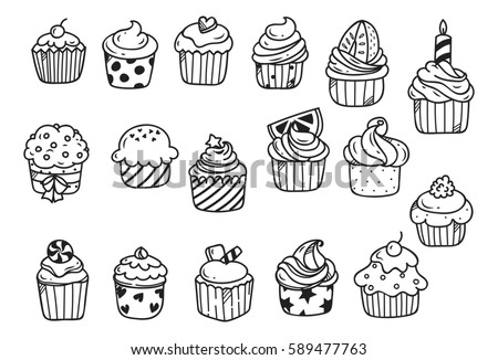 Set of cupcake doodle