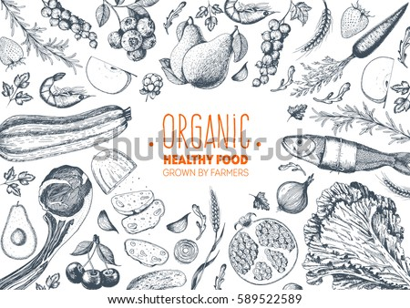 Healthy food frame vector illustration. Vegetables, fruits, meat hand drawn. Organic food set. Good nutrition. Royalty-Free Stock Photo #589522589