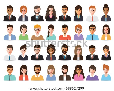 Group of working people diversity, diverse business men and women avatar icons. Vector illustration of flat design people characters. Royalty-Free Stock Photo #589527299