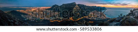 Cape Town At Dusk Royalty-Free Stock Photo #589533806