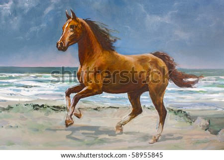 Chestnut horse galloping on shore, fragment of painting