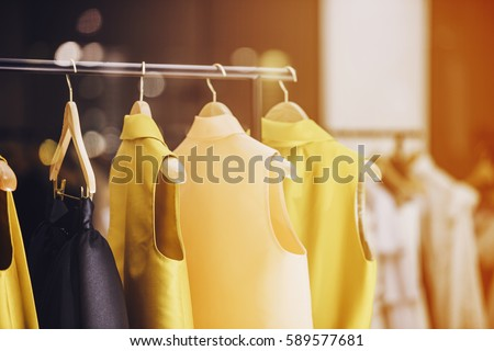 Fashionable clothes in a boutique store in London. #589577681