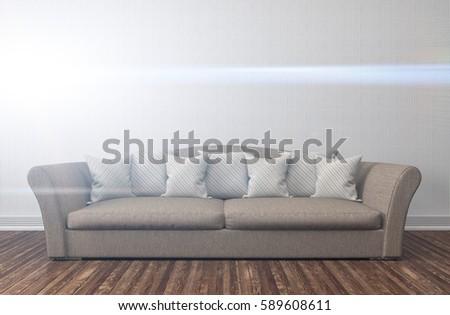 interior with sofa. 3d illustration #589608611
