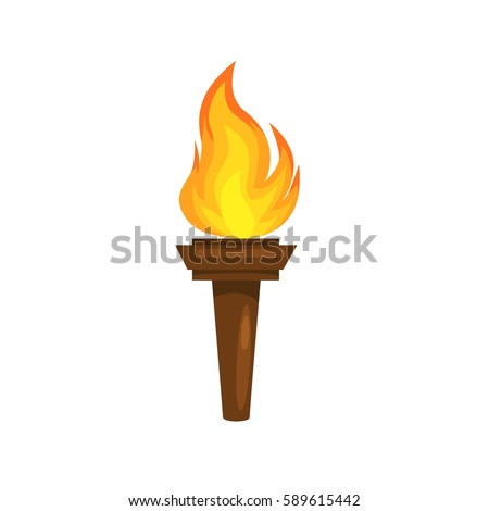 vector illustration of  Torch icon isolated on white background. Fire. Symbol of Olympic games. Flaming figure.