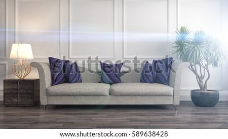 interior with sofa. 3d illustration #589638428