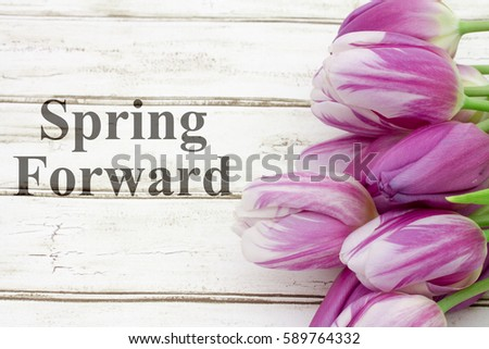 Spring Forward message, A bouquet of purple tulips on weathered wood  with text Spring Forward #589764332