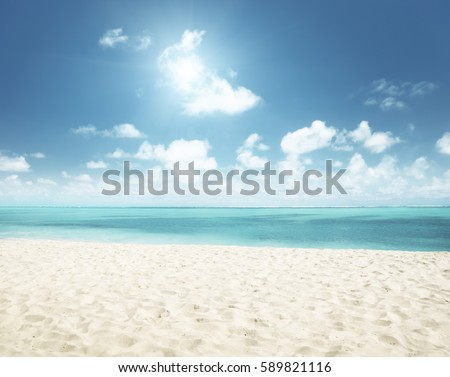 sunny tropical beach and perfect sky #589821116