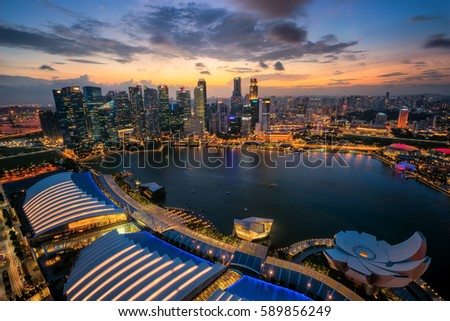 Singapore city panoramic from top view of building on 12 Feb 2017, in Singapore #589856249