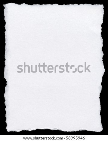 White torn paper page isolated on a black background. Royalty-Free Stock Photo #58995946