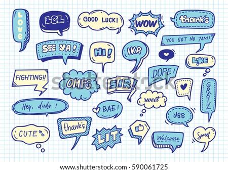 Cute speech bubble doodle background