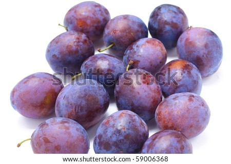 Beautiful isolated plum on white background