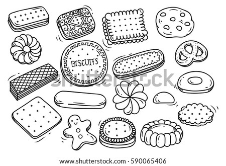 Set of biscuit doodle isolated on white background