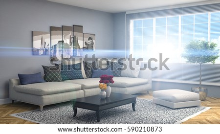 interior with sofa. 3d illustration #590210873