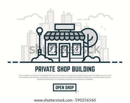 Online store building. Big city with skyscrapers on background. Line outline vector illustration. Tree and bushes with street lamp and cloud. Trendy linear retro color style.