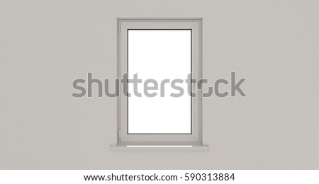 Window. Wall. White. Aluminum window. White window. Pvc window. 3d. 3D render. #590313884