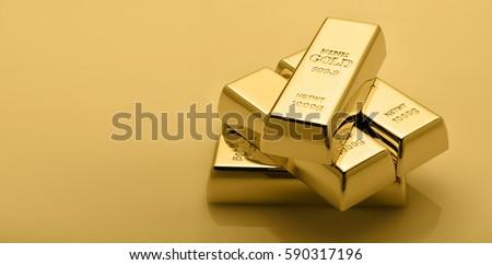 Gold bullion stack. Financial concept. Set of gold bars. #590317196