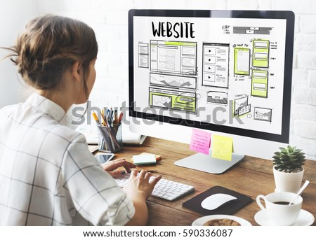 Website development layout sketch drawing Royalty-Free Stock Photo #590336087
