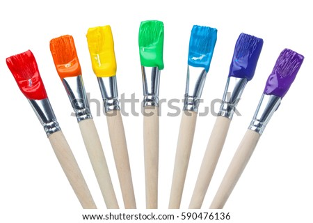 Colorful Paint Brushes with the Colors of the Rainbow, simple isolated in white shots Royalty-Free Stock Photo #590476136