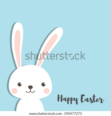 Happy Easter Bunny. Vector illustration for greeting card, invitation with white cute rabbit on sky blue background. #590477273