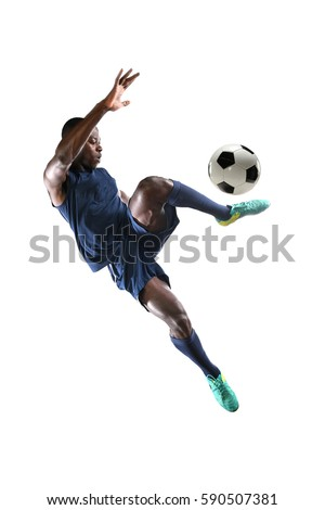 African American soccer player playing isolated over white background #590507381