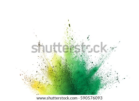 Colorful powder explosion on white background. Colored cloud. Colorful dust explode. Paint Holi. #590576093