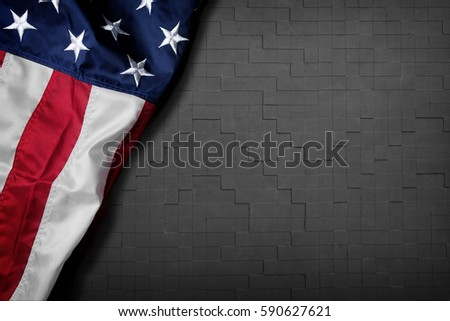 Flag of the USA on wooden background #590627621
