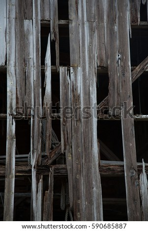 wooden texture of old fisherman shed on the sea shore #590685887