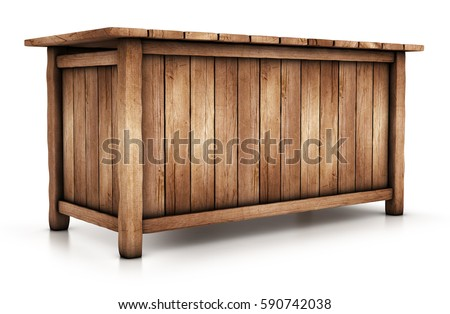 Wooden table, the counter closed sidewalls 3d image isolated on white #590742038