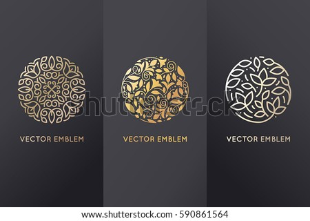 Vector set of logo design templates in trendy linear style with flowers and leaves - signs made with golden foil on black background - luxury products, florist emblems, organic cosmetics packaging