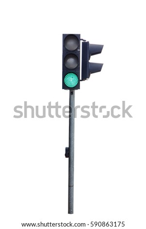green color traffic light isolated on white background, Real photo #590863175
