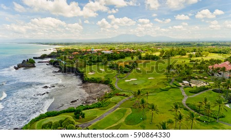 Beautiful view of the sea landscape. Aerial view. Tanah lot, Bali, Indonesia. #590864330