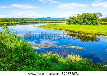 Landscape View of Mae Puem Reservoir, Thailand #590875673
