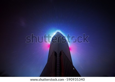 Sci-fi Modern Architecture With Stars in Background at Night