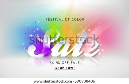 Happy Holi spring festival of colorful banner sale vector background. Vector illustration.