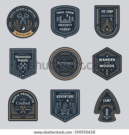 Set of retro vintage outdoor camp logo badges Royalty-Free Stock Photo #590950658